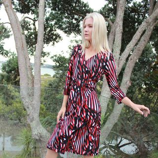 Butterfly Print Buckle Wrap Dress